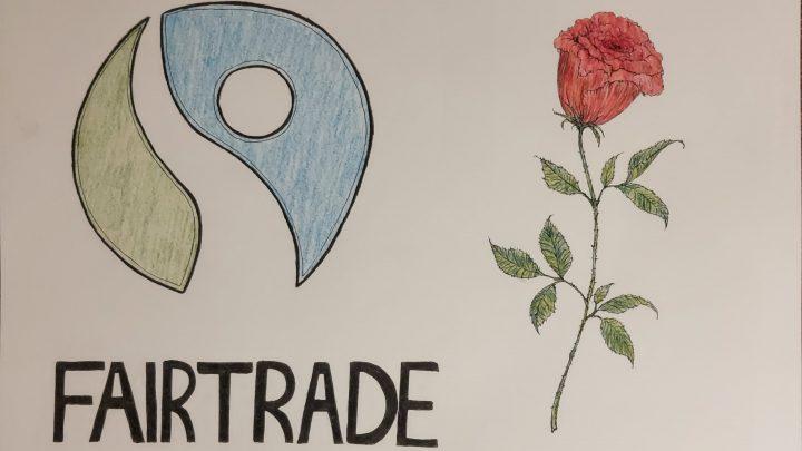 ilustracja przedstawia na białym tle po lewej stronie logo fairtrade z czarnym podpisem FAIRTRADE - zielono-niebieskie kółko faliście przecięte w płaszczyźnie pionowej - a po prawej stronie rysunku znajduje się czerwona róża